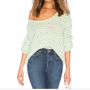 NWT Free People Crashing Waves Sweater Mint